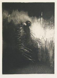 """AUTOR/AUTHOR: MALGORZATA BOJARSKA- WASZCZUK TYTUL/TITLE """"Nie spodziewaj sie niczego, nawet drapieznika w czarnym zmierzchu"""", 1996, techn. metalowa mieszana, 43,5x32 cm."""
